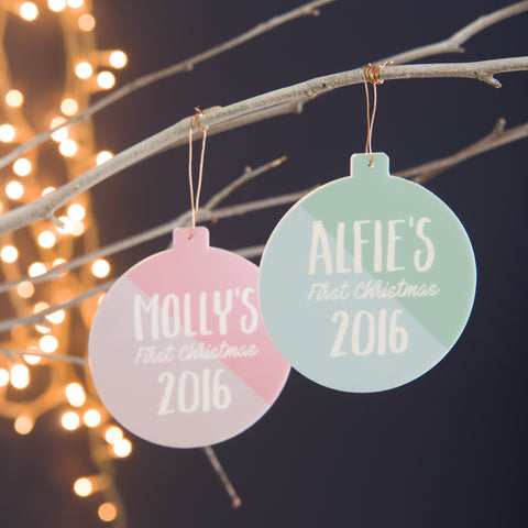 Personalised First Christmas Colour Block Bauble