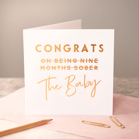 Copper Foiled New Baby Card