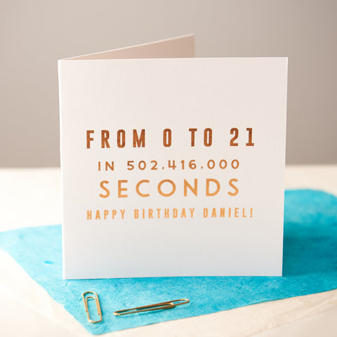 Personalised Copper Age Birthday Card