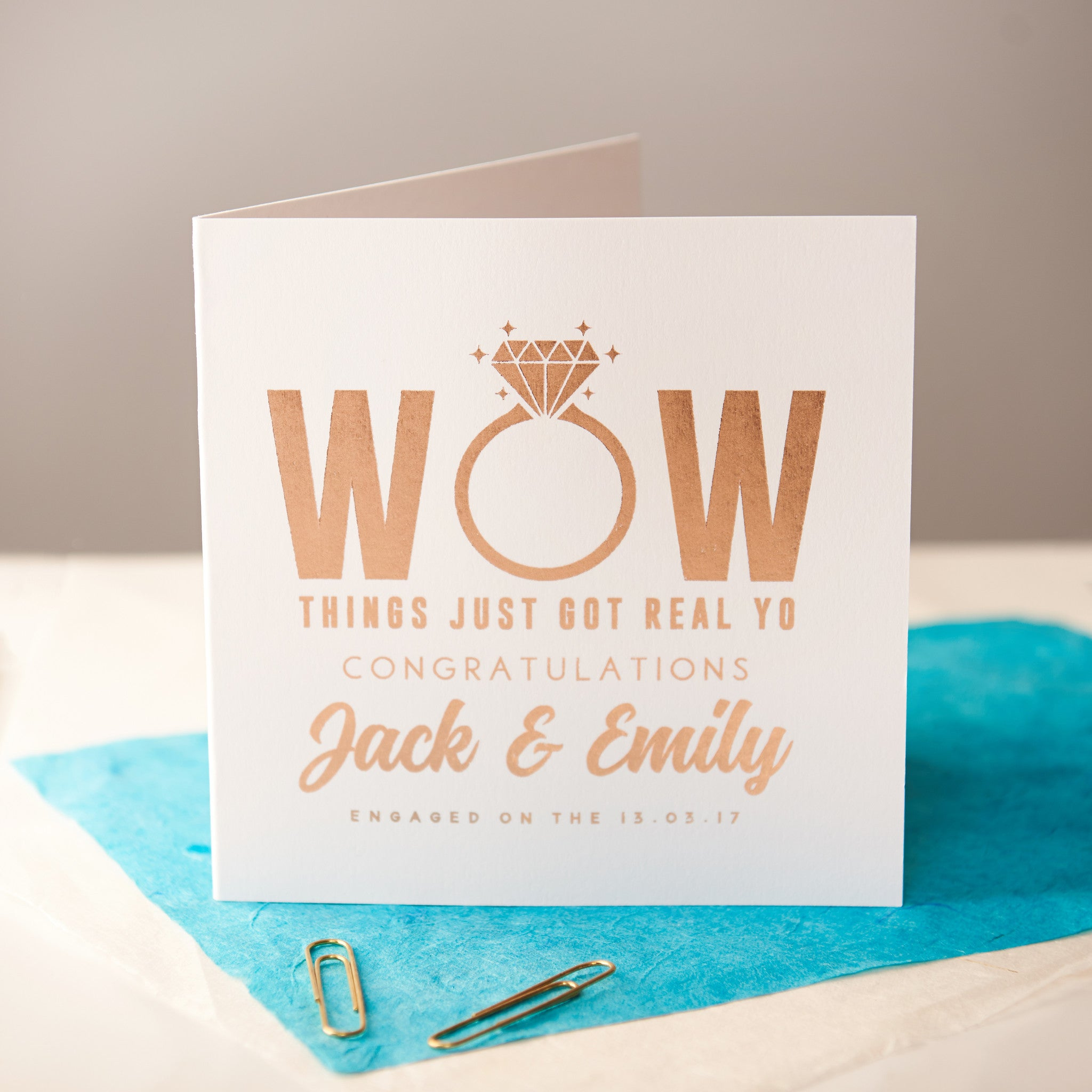personalised rose gold foiled engagement card - Engagement Cards