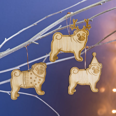 Christmas Pugs Bamboo Tree Decorations