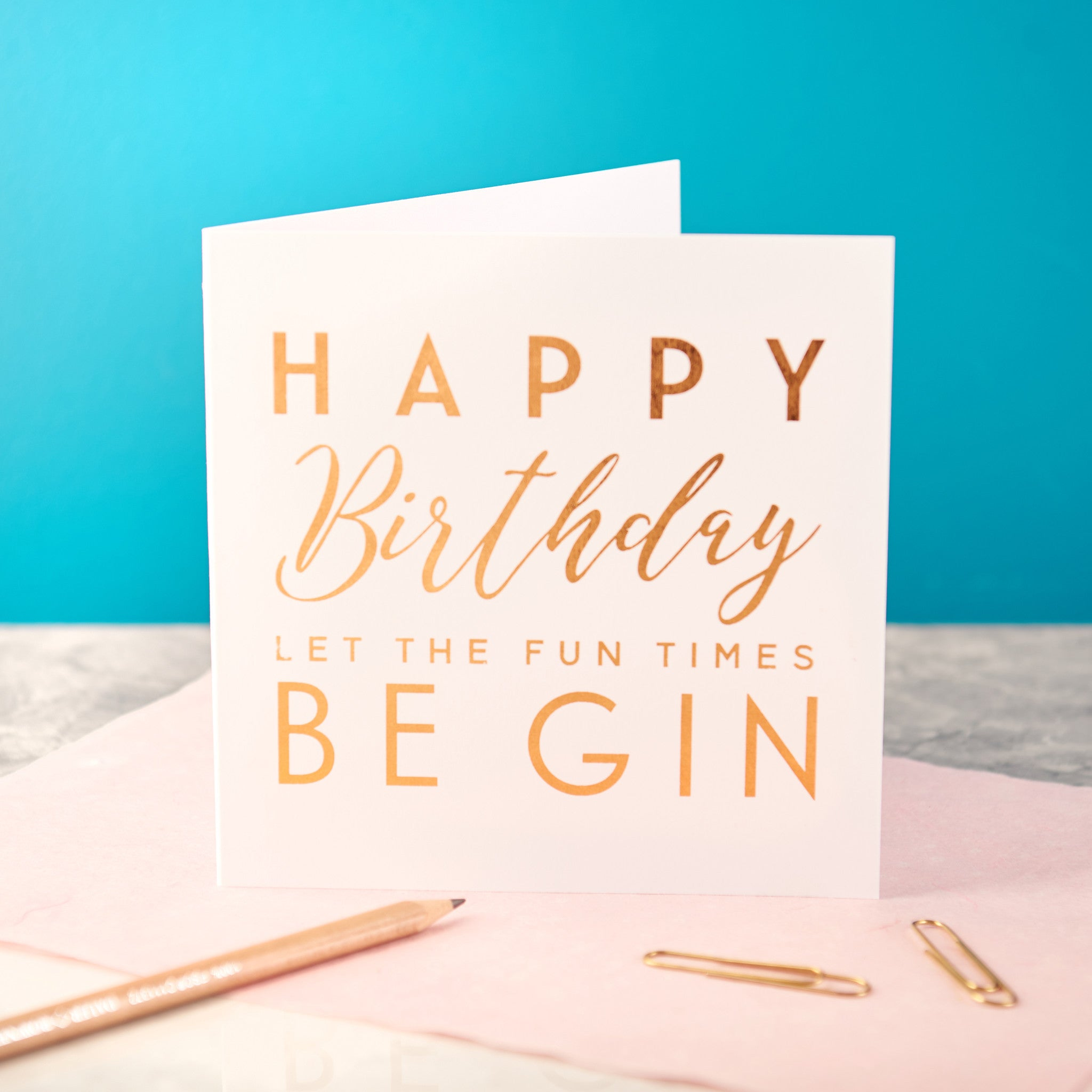 Copper Foiled Gin Birthday Card
