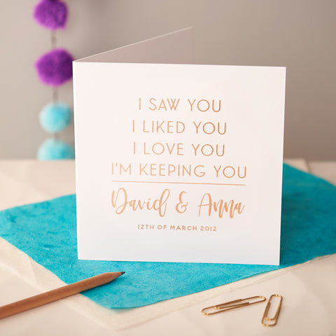 Personalised Rose Gold Foiled Anniversary Card