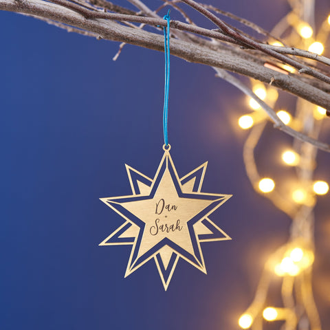 Personalised Brass Couples Star Christmas Decoration