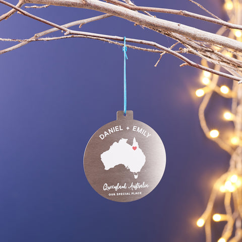 Personalised Metal Location Christmas Decoration