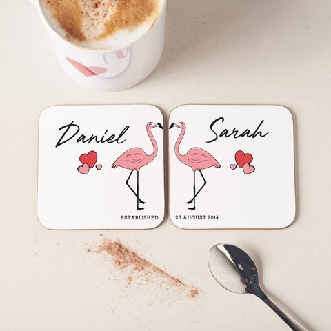 Personalised Couples Flamingo Coasters