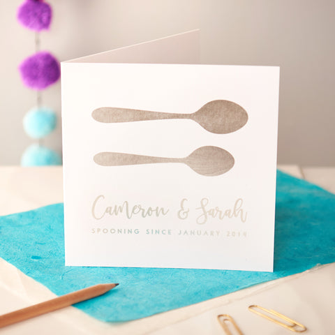 Personalised Spooning Silver Foiled Couples Card