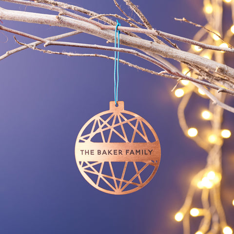 Personalised Copper Geometric Christmas Decoration