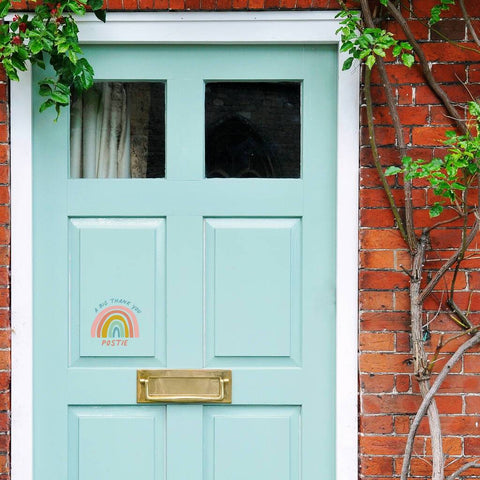 'A Big Thank You Postie' Rainbow Front Door Sticker