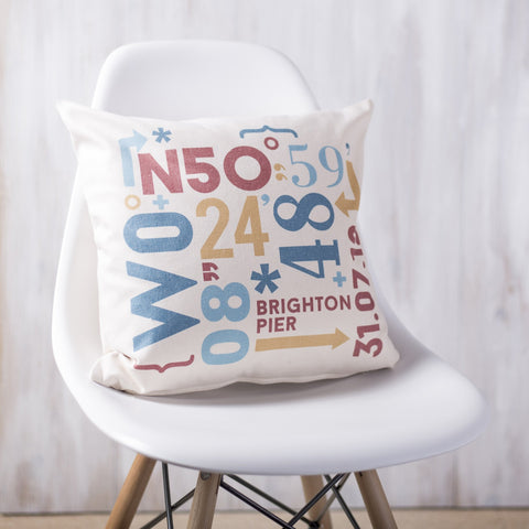 Personalised Coordinates Cushion - Oakdene Designs - 1
