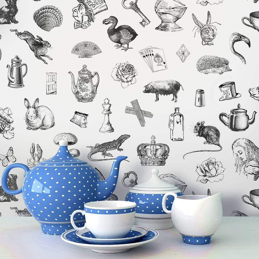 39 alice in wonderland 39 self adhesive wallpaper for Alice in wonderland wallpaper mural