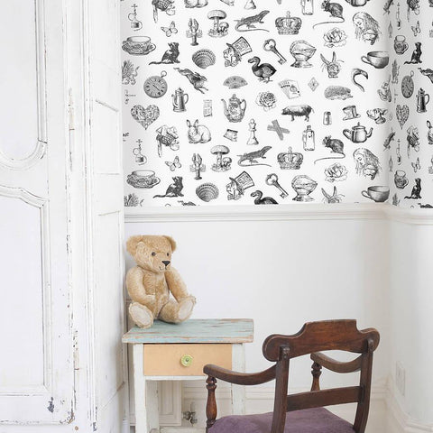 Curtains Ideas alice in wonderland curtains : Alice In Wonderland' Self Adhesive Wallpaper | oakdenedesigns.com