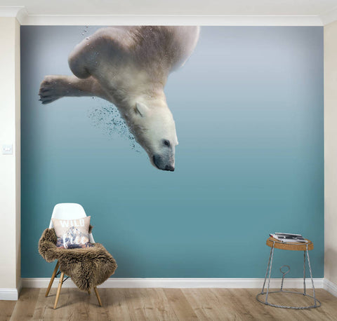 Arctic Polar Bear Self Adhesive Wallpaper Mural