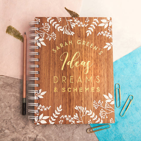 Personalised 'Ideas And Dreams' Gold Walnut Notebook