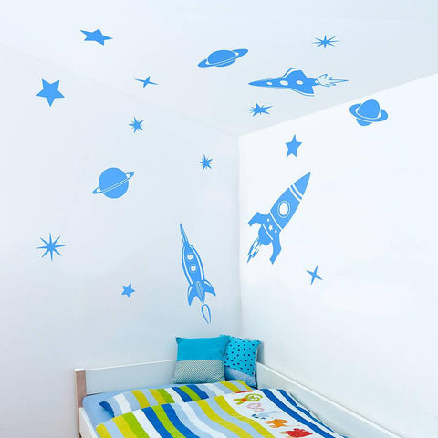 Space Rockets Wall Sticker Set - Oakdene Designs - 1