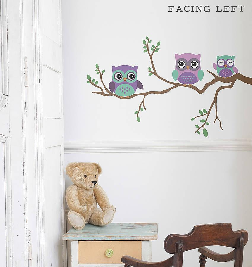 Childrens owl wall sticker oakdene designs 1