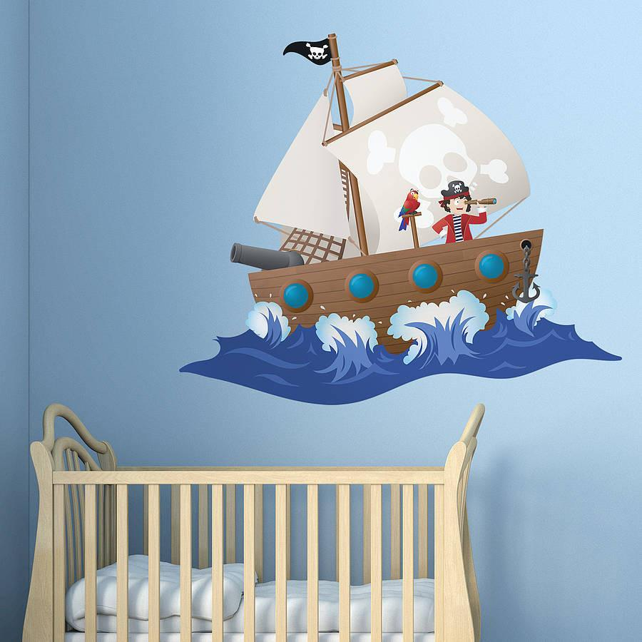 Childrenu0027s Pirate Ship Wall Sticker   Oakdene Designs   1