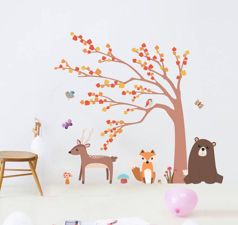 Children's Woodland Animal And Tree Wall Sticker Set