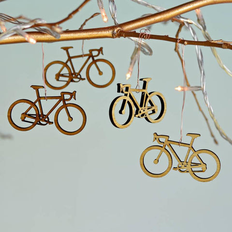 Christmas Bamboo Bicycle Tree Decorations - Oakdene Designs