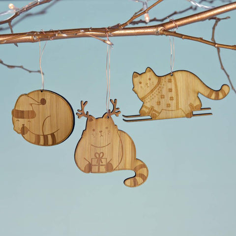 Christmas Bamboo Cat Decorations - Oakdene Designs