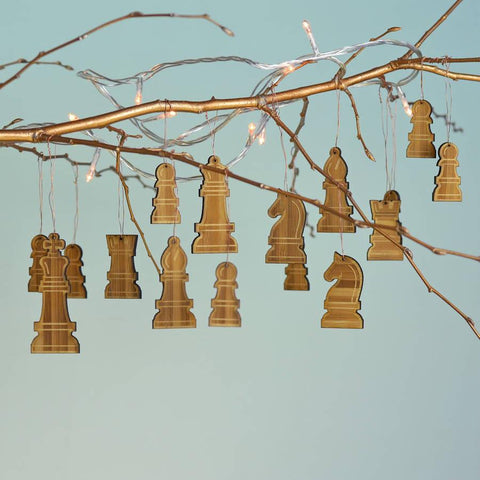 Christmas Bamboo Chess Piece Decorations - Oakdene Designs - 1