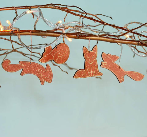 Christmas Bamboo Fox Decoration Set - Oakdene Designs