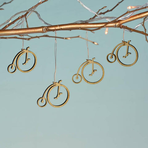 Christmas Bamboo Penny Farthing Decorations - Oakdene Designs