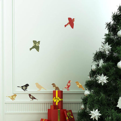 'Christmas Patterned Birds' Wall Stickers - Oakdene Designs - 1
