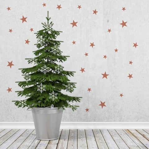 Copper Effect Star Wall Sticker Set - Oakdene Designs - 1