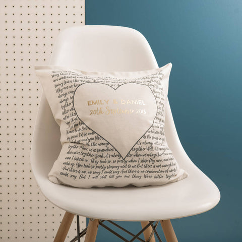 Couple's 'Special Song' Black And Gold Cushion