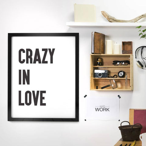 'Crazy In Love' Framed Monochrome Typographic Print - Oakdene Designs - 1