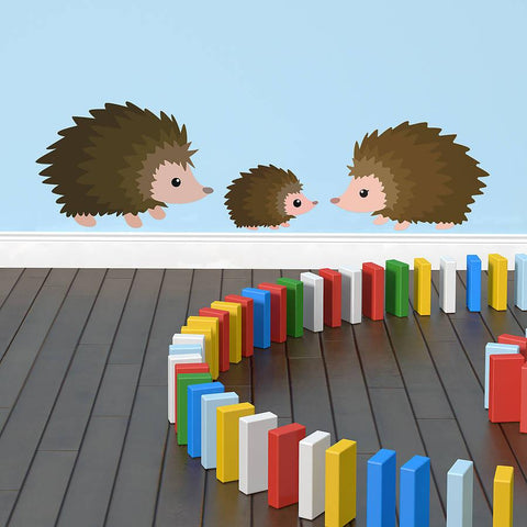 Cute Children's Hedgehog Wall Sticker Set - Oakdene Designs - 1