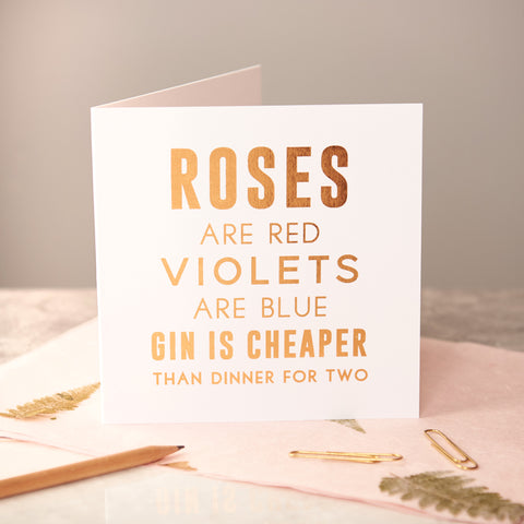 Copper Foiled 'Gin Is Cheaper' Card