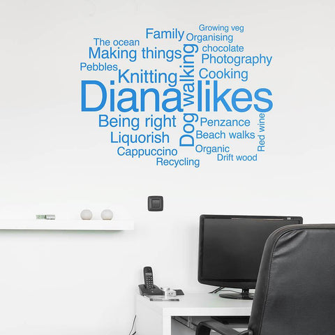 Personalised 'Likes' Word Cloud Wall Sticker - Oakdene Designs - 1