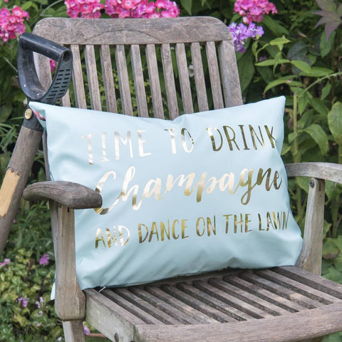 'Drink Champagne And Dance On The Lawn' Outdoor Cushion
