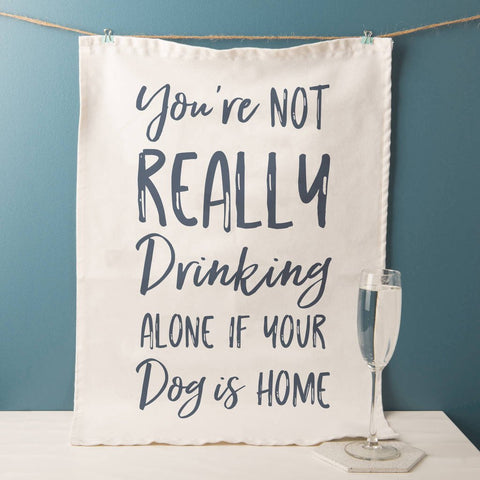 'Drinking Alone' Funny Tea Towel