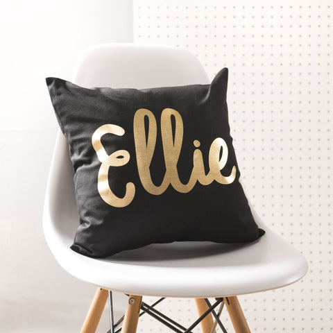 Personalised Black & Gold Name Cushion - Oakdene Designs