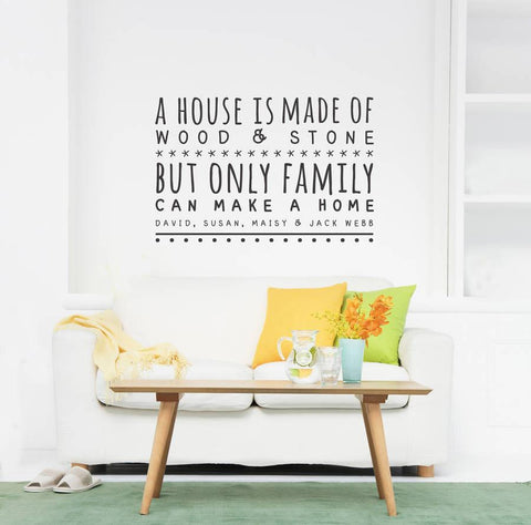 Only Family Can Make A Home Wall Sticker - Oakdene Designs - 1