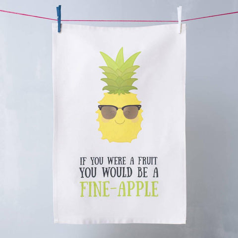 'Fine Apple' Pineapple Pun Tea Towel