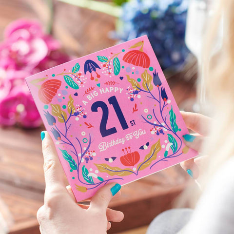 Floral 21st Birthday Age Card Sent Direct