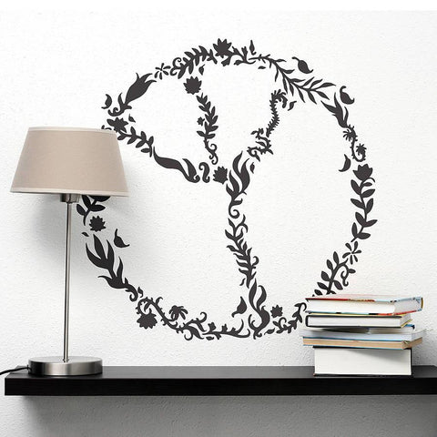 Floral Peace Sign Wall Sticker - Oakdene Designs - 1