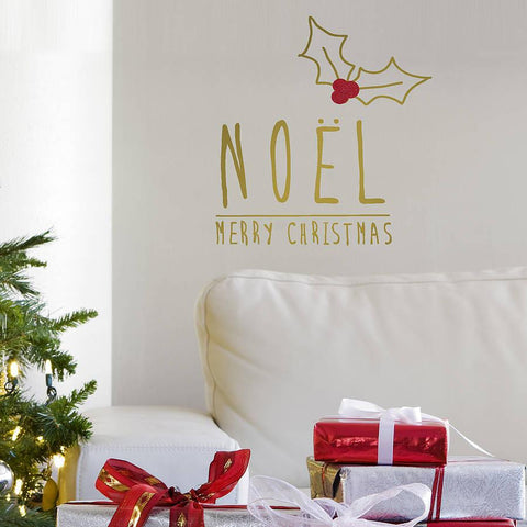 Gold 'Noel' Christmas Wall Sticker - Oakdene Designs - 1
