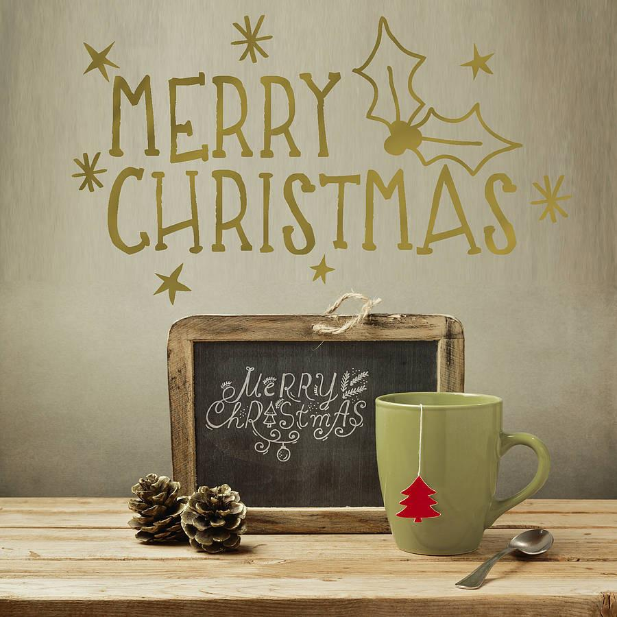 Gold merry christmas wall sticker wall stickers wall decals gold merry christmas wall sticker oakdene designs 1 amipublicfo Gallery