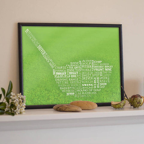 Golf Typography Print - Oakdene Designs