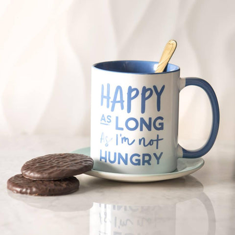 'Happy As Long As I'm Not Hungry' Ceramic Mug