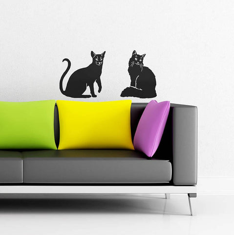 Homely Cat Vinyl Wall Stickers - Oakdene Designs - 1