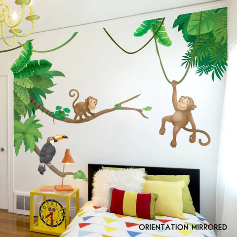 Jungle Monkey Children's' Wall Sticker Set
