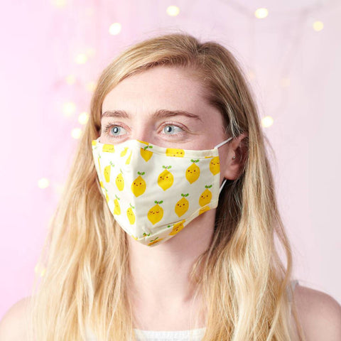 Lemon Print 100% Cotton Face Mask With Filters