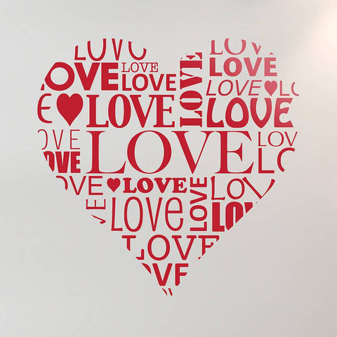 Personalised Love Heart Vinyl Wall Sticker - Oakdene Designs - 1