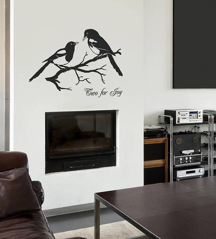 Magpies 'Two For Joy' Vinyl Wall Sticker - Oakdene Designs - 1